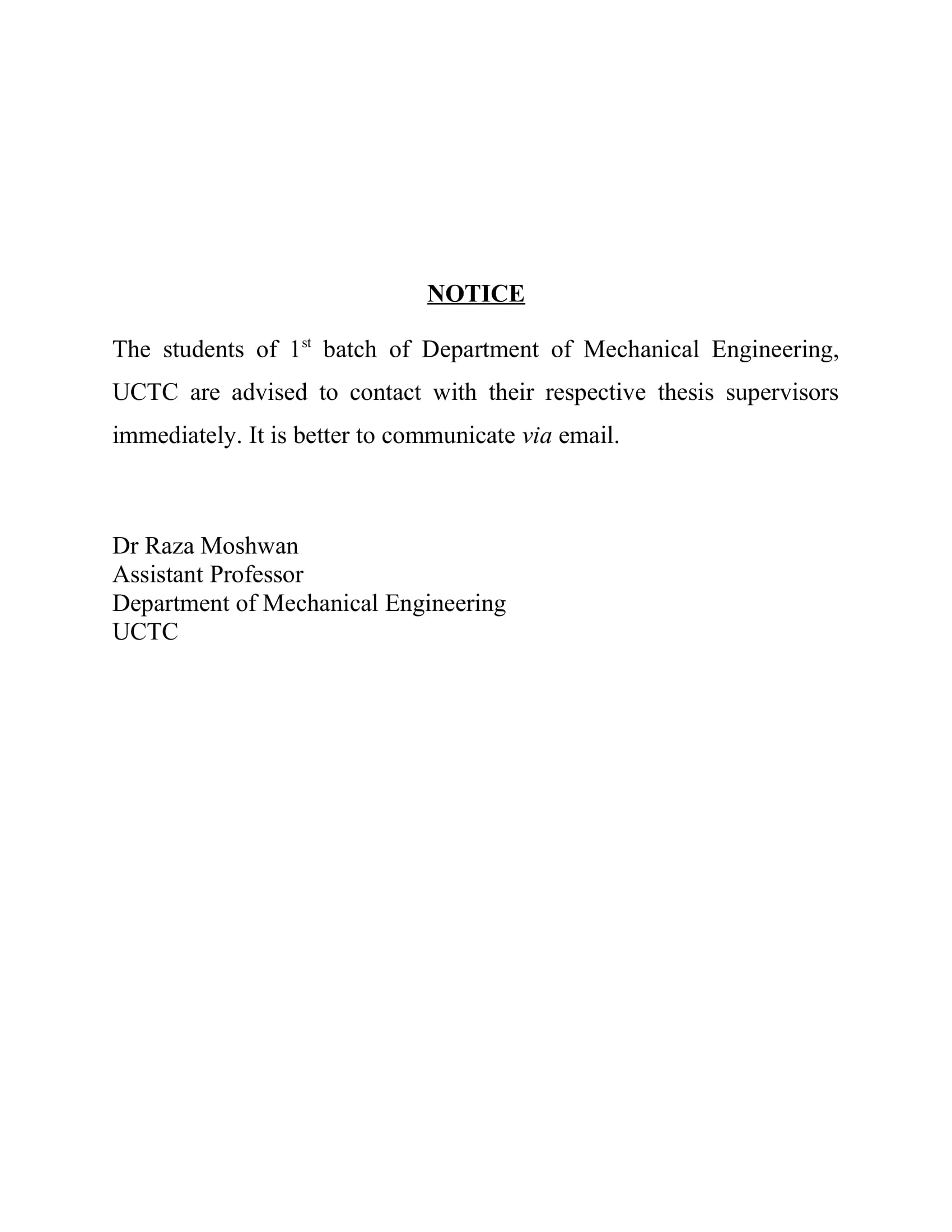 Notice for 1st Batch, Mechanical Engineering