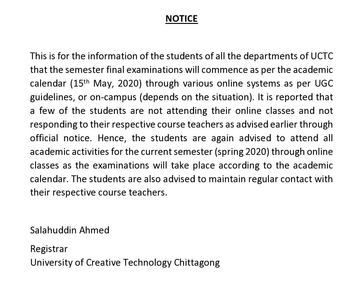 Notice Regarding Final Examination